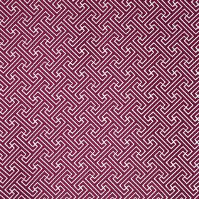 Key - Fuchsia - Geometric patterned polyester and cotton blend fabric, featuring a simple, repeated design in white and dark fucshia