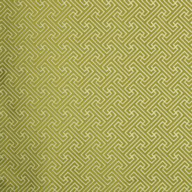Key - Lime - Apple green and cream colours making up a simple, repeated geometric design on fabric made from polyester and cotton