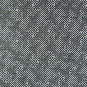 Key - Anthracite - Midnight blue and pale grey polyester and cotton blend fabric, printed repeatedly with a small, simple geometric design