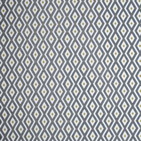Switch - Citron - Small navy blue and light grey diamonds printed in rows on a white polyester and cotton blend fabric background