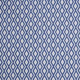 Switch - Porcelain - Royal blue, pale grey and white coloured polyester and cotton blend fabric featuring a small, simple, repeated diamond prin