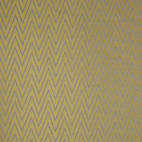 Peak - Citron - Lustrous gold and steel grey colours making up a large, narrow zigzag design on polyester and cotton blend fabric