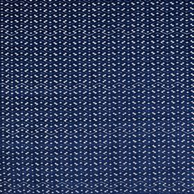 Ariel - Porcelain - Small midnight blue and pale grey geometric designs covering fabric blended from polyester and viscose