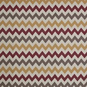 Graphix - Spice - Cotton and polyester blend fabric in pale grey, with a warm gold, burgundy and dark brown-grey horizontal zigzag design