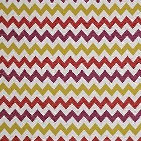 Graphix - Tutti Frutti - Simple horizontal zigzags patterning off-white cotton and polyester fabric in bright lime green, purple & cherry co