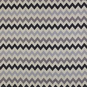 Graphix - Anthracite - Fabric made from cotton and polyester in black and four different shades of grey, featuring simple horizontal zigzags