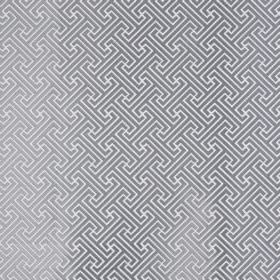 Key - Silver - A small, simple steel grey and white coloured geometric design covering fabric blended from polyester and cotton