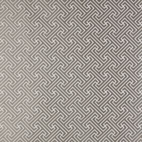 Key - Linen - Simple dark grey geometric designs printed repeatedly on a white polyester and cotton blend fabric background