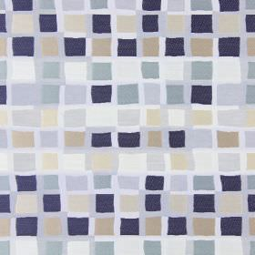 Liberty - Harbour - Fabric with a repeated square pattern in warm, biscuity shades, shades of grey, blue-black, and even some off-white