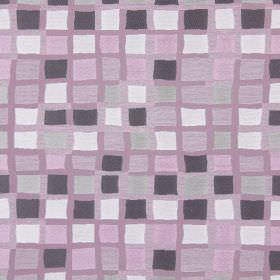 Liberty - Violet - Squares in shades of pink, purple and white printed in uneven rows onpink-purple coloured fabric