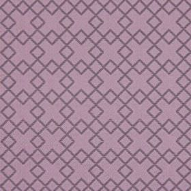Lexington - Violet - Fabric in dusky purple, which has been embroidered with a pattern of overlapping dark purple squares