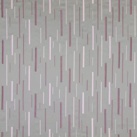 Brooklyn - Violet - Grey cotton fabric with an embroidered pattern of long purple and pink vertical dashes