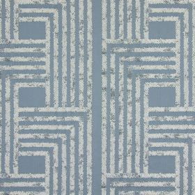 Wall Street - Harbour - Light blue cotton fabric as a background for a design of angular lines forming geometric shapes in patchy grey and n
