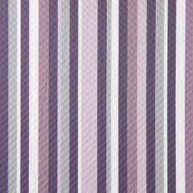 Downtown - Violet - Randomly arranged light pink, dusky purple, dark purple, pale grey and white stripes on this swatch of fabric