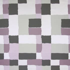 Manhattan - Violet - Block print fabric in grey, beige, and two similar shades of dusky pink