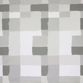 Manhattan - Oyster - Fabric printed with a design of uneven blocks in different shades of grey and beige