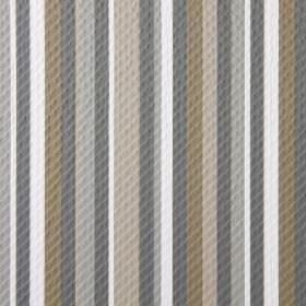 Downtown - Truffle - Fabric striped with white and different shades of brown and grey