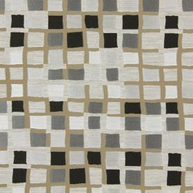 Liberty - Truffle - Brown-beige fabric patterned with small black, grey and white squares