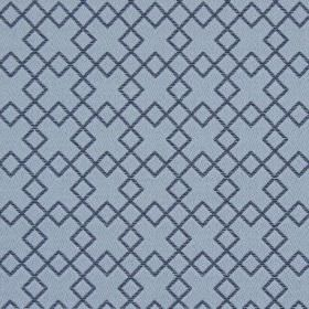 Lexington - Harbour - Embroidered dark blue squares as an overlapping design on blue-grey fabric