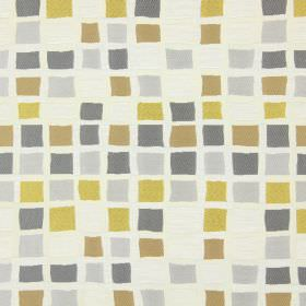 Liberty - Chartreuse - Gold, yellow, dark grey, light grey and white squares of slightly uneven sizes, printed on a white fabric background