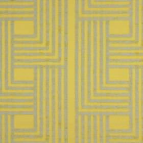 Wall Street - Chartreuse - A series of beige coloured lines forming angular, geometric shapes on mustard yellow coloured cotton fabric