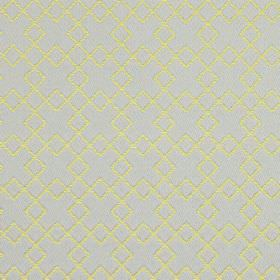 Lexington - Chartreuse - Overlapping metallic gold squares embroidered on light purple coloured fabric