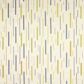 Brooklyn - Chartreuse - Long grey and gold dashes embroidered randomly onto cream coloured cotton fabric
