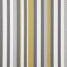 Downtown - Chartreuse - Matt gold, cream, white and two different shades of grey making up the striped pattern for this fabric