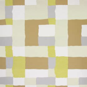 Manhattan - Chartreuse - Fabric printed with blocks of gold, bronze, cream, beige and white