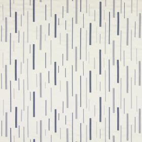 Brooklyn - Harbour - Cotton fabric in white, with a pattern of randomly placed, embroidered dashes in blue-grey shades