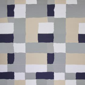Manhattan - Harbour - Navy blue, grey, white and peach tones making up this fabric
