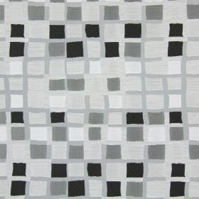 Liberty - Concrete - Light grey fabric covered in rows of slightly unevenly sized squares in shades of grey, black and white