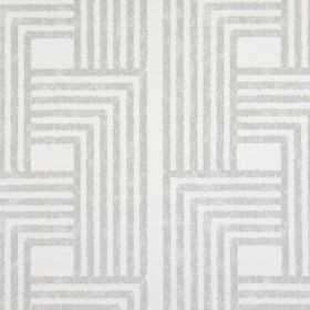 Wall Street - Concrete - Geometric shapes created by angular grey lines on a very pale grey-white cotton fabric background