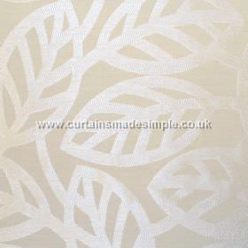 Maya - Natural - Modern minimalistic foliage pattern on natural white fabric