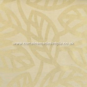 Maya - Champagne - Modern minimalistic foliage pattern on champagne yellow fabric