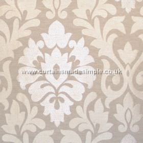 Coba - Stone - Stone grey fabric with classic foliage pattern