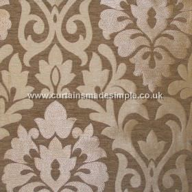 Coba - Tobacco - Tobacco brown fabric with classic foliage pattern