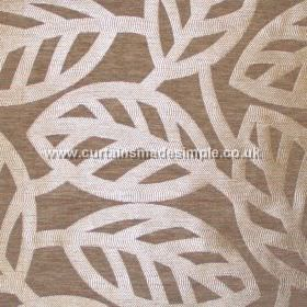 Maya - Tobacco - Modern minimalistic foliage pattern on tobacco brown fabric