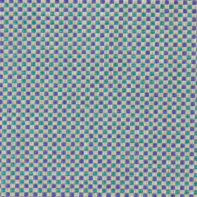 Alexa - Aqua - Modern aqua blue and purple chequered fabric