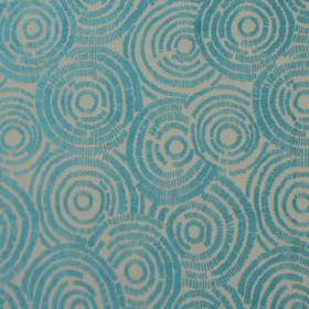 Koko - Aqua - White fabric with aqua blue circle impressions