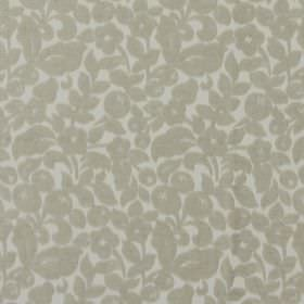 Arabella - Stone - Classic stone grey flower design on white fabric