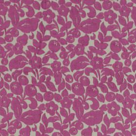 Arabella - Berry - Classic berry pink flower design on sandy fabric