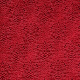 Iona - Cardinal - Black fabric with cardinal red coarse diamond shapes for a modern design