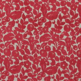 Arabella - Cardinal - Classic cardinal red flower design on sandy fabric