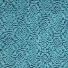 Iona - Aqua - Blue fabric with aqua blue coarse diamond shapes for a modern design