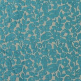 Arabella - Aqua - Modern beige fabric with turquoise flower pattern