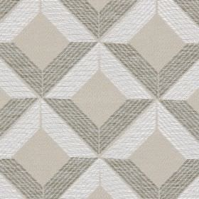 Lucca - Champagne - White and grey cross-hatched lines on champagne white fabric