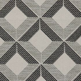 Lucca - Noire - Noire black and grey cross-hatched lines on light grey fabric