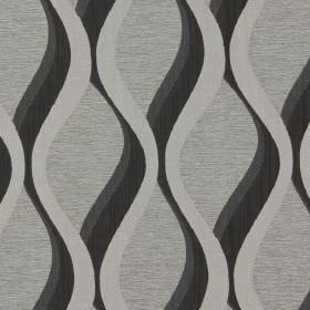 Bari - Noire - Noire black vertical waves on grey fabric