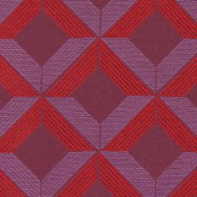 Lucca - Berry - Red and light purple cross-hatched lines on berry purple fabric